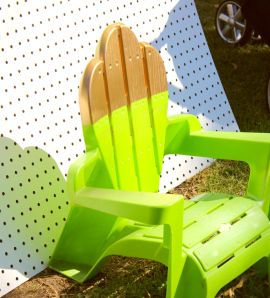 We already had this chair, so I masked it off and sprayed it gold for a dipped look.